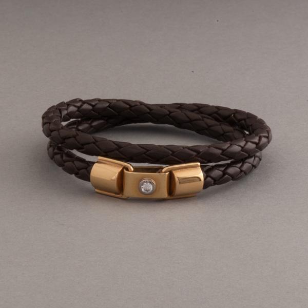 Lederarmband verschluss  Lederarmband mit Verschluss aus 18 Karat Gold mit Brillant – Botho ...