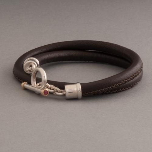 Lederarmband verschluss  Lederarmband mit Verschluss aus Silber mit Citrin oval facettiert ...