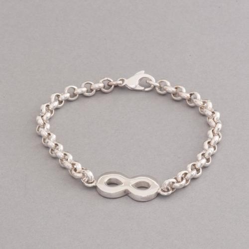 Armband aus Silber mit liegender Acht Symbol für Unendlichkeit, Botho Nickel Hamburg