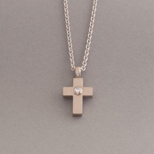 Kette aus 18 Karat Weissgold mit Kreuz und Brillant