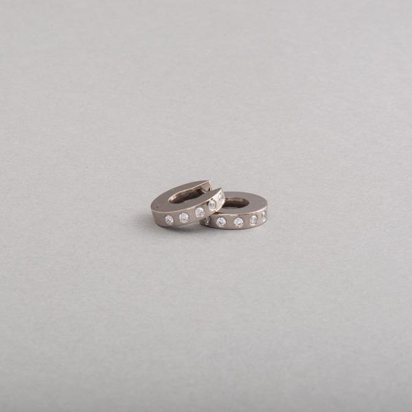 Goldohrringe Kreolen aus Weissgold mit Brillanten, Botho Nickel Schmuck Juwelier, Goldschmiede, Gemmologe und Diamantgutachter