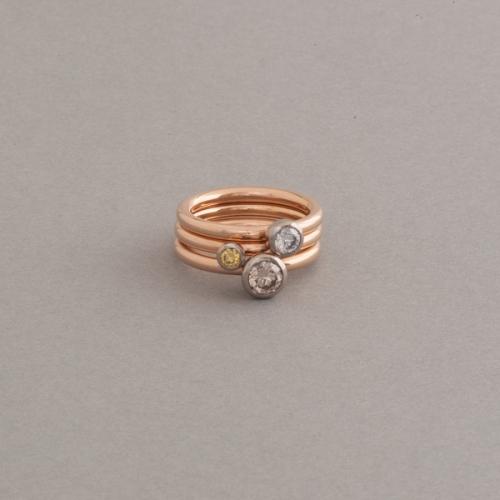 Ringkombination aus 18 Karat Gold mit Brillanten