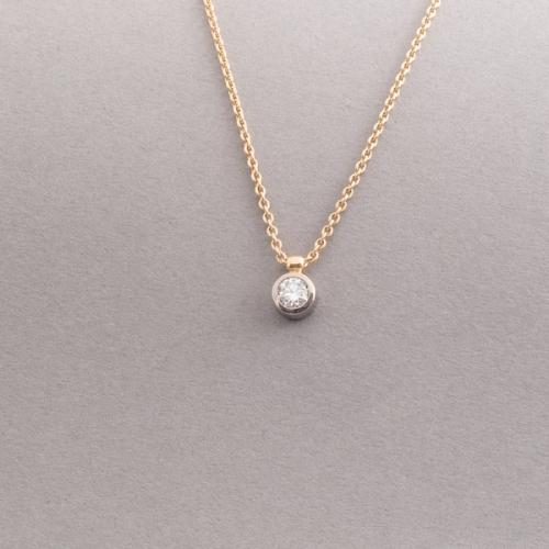 Kette aus 18 Karat Gold mit Brillant, Botho Nickel Schmuck Hamburg, Juwelier, Goldschmiede, Gemmologe und Diamantgutachter