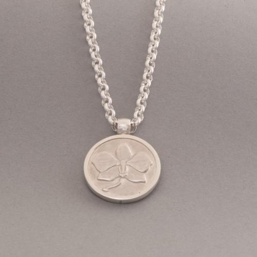 Silberkette mit Anhänger Orchidee