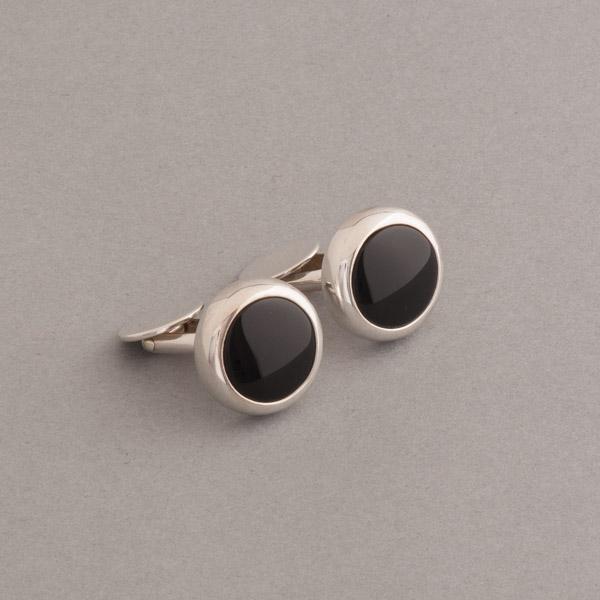 Manschettenknöpfe aus Silber mit Onyx