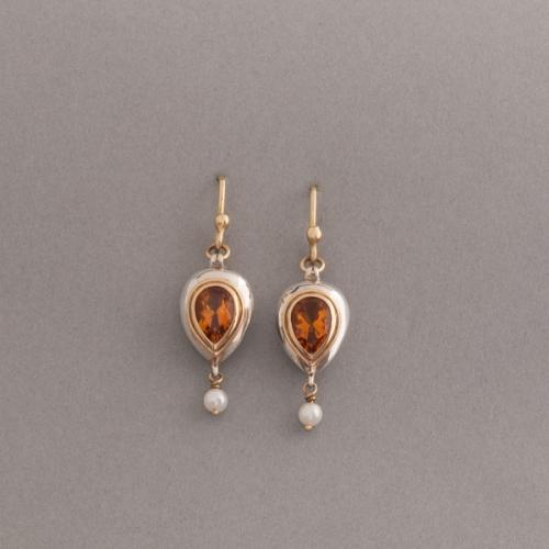 Ohrringe aus 925/000 Silber mit Citrin tropfen 9,3x6,8mm, Fassung aus 750/000 Gold