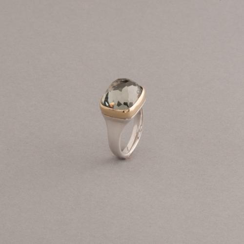 Ring aus Silber mit Prasiolith