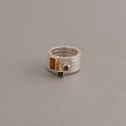 Ringkombination aus Silber mit Amethyst , Citrin und Turmalin