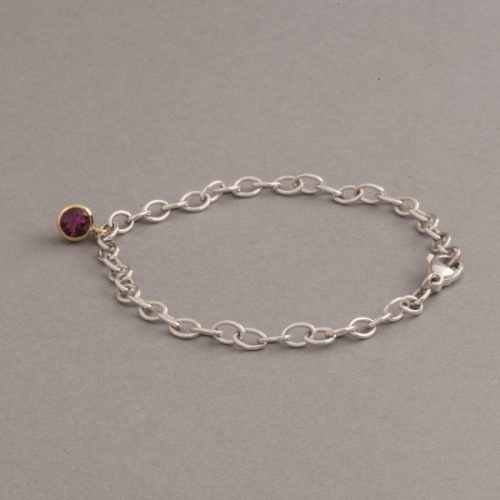 Armband aus Silber mit Rhodolith