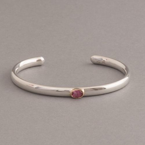 Armspange aus Silber mit rosa Turmalin