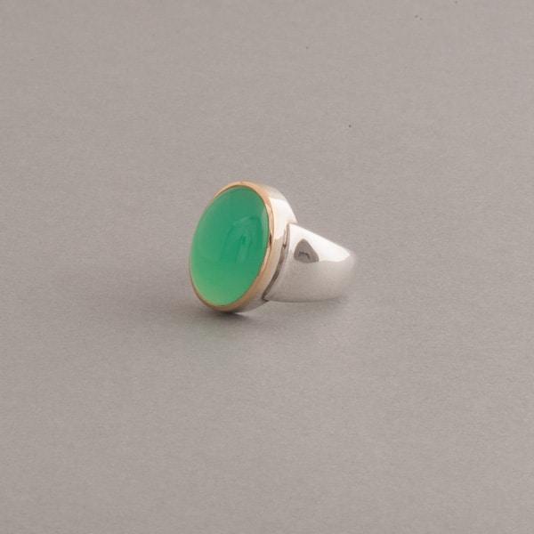 Ring aus Silber mit Chrysopras