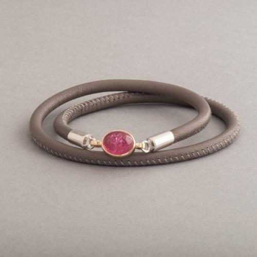 Lederarmband Verschluss Silber mit rosa Turmalin Cabochon