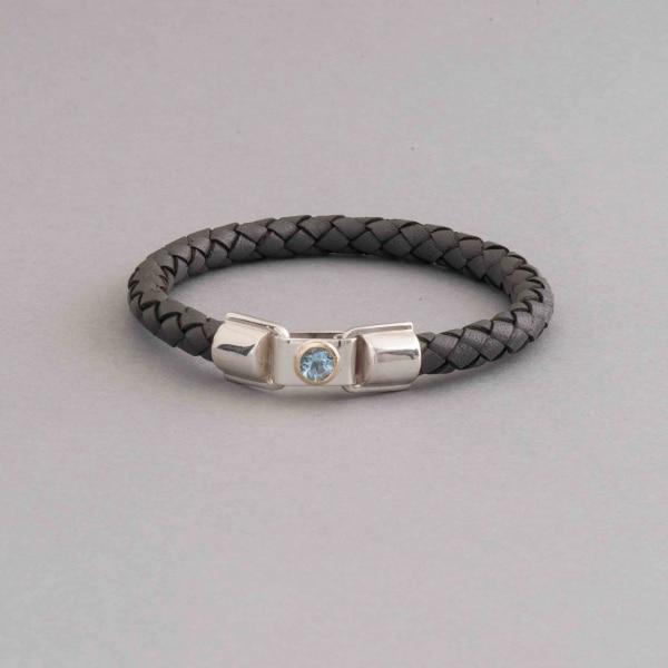 Armband aus Leder mit Aquamarin