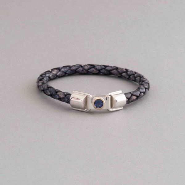 Armband aus Leder mit Iolith