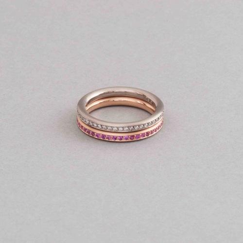 Ringe aus 18 Karat Gold mit pinken Saphiren und Brillanten
