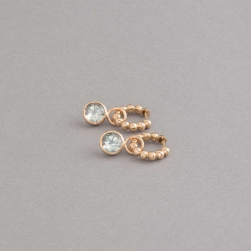 Ohrringe Kreolen aus 18 Karat Gold mit Prasiolith, Botho Nickel Hamburg