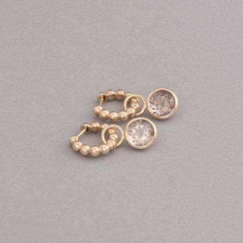 Ohrringe aus 18 Karat Gold Kreolen mit Rauchquarzen