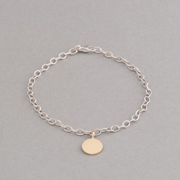 Armband aus Silber mit Gravurplättchen aus 18 Karat Roségold, Botho Nickel Hamburg