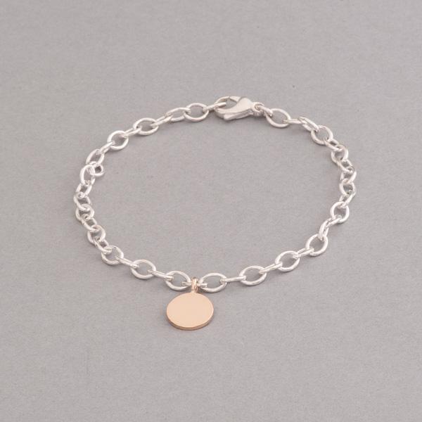 Armband aus Silber mit Gravurplättchen aus 18 Karat Gold, Botho Nickel Hamburg