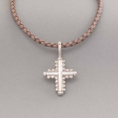 Kette aus Leder mit Anhänger Kreuz aus Silber, Botho Nickel Hamburg