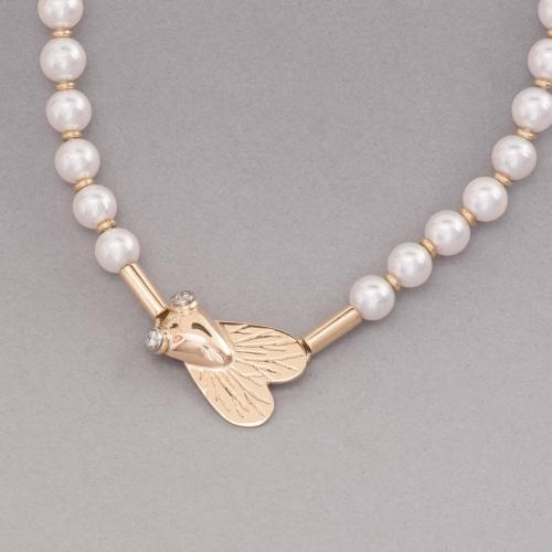 Perlenkette Akoya Zuchtperlen mit 18 Karat Gold und Fliege mit Brillanten, Botho Nickel Hamburg