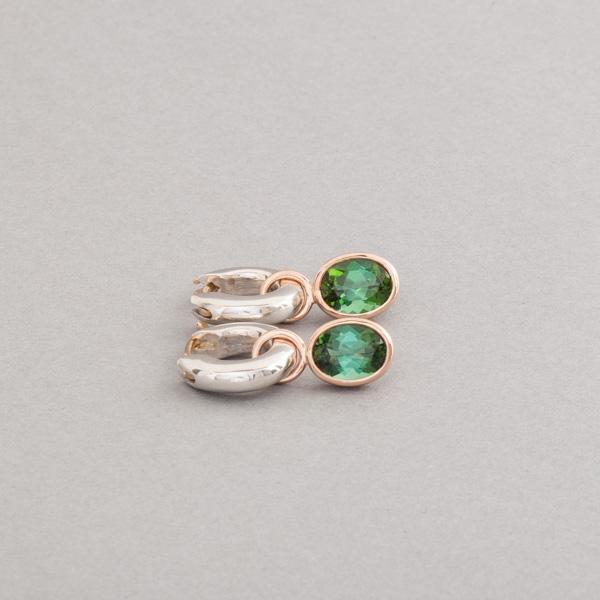 Kreolen aus Silber mit Turmalinen oval facettiert, Botho Nickel Schmuck Hamburg