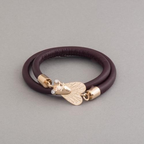 Armband aus Leder mit Verschluss aus 750/000 Gold , Fliege mit Brillanten besetzt, Botho Nickel Schmuck Hamburg