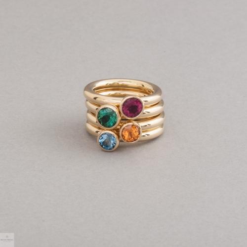 Ringe aus 18 Karat Gold mit Rubellit, Turmalin, Mandarin Granat und Aquamarin, Botho Nickel Schmuck Hamburg