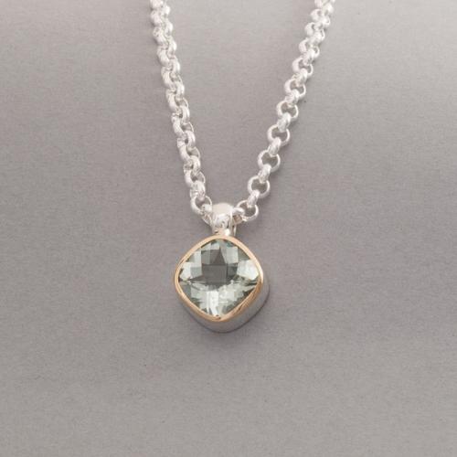 Kette aus Silber mit einem Prasiolith Edelstein, Juwelier und Goldschmiede Botho Nickel Schmuck Hamburg