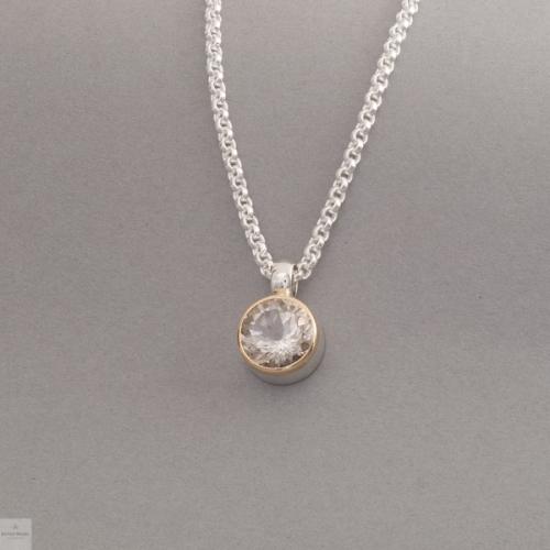 Kette aus Silber mit Rauchquarz, Fassung aus 18 Karat Gold, Juwelier und Goldschmiede Botho Nickel Schmuck Hamburg