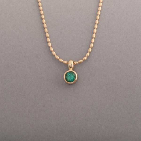 Kette aus 18 Karat Gold mit Turmalin rund facettiert, Botho Nickel Schmuck Hamburg Juwelier, Goldschmiede, Gemmologe und Diamantgutachter