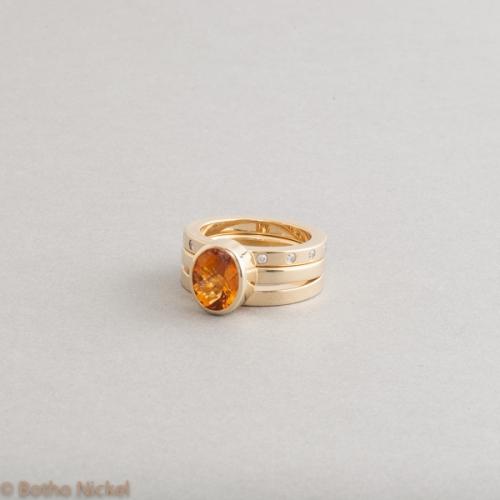 Ringe aus Gelbgold mit Citrin und Brillanten, Goldschmiede Botho Nickel Schmuck Hamburg, Juwelier, Goldschmiede, Gemmologe und Diamantgutachter