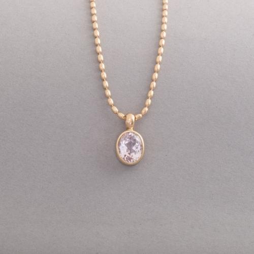 Kette aus 18 Karat Gold mit Edeltopas rosa, Botho Nickel Schmuck Hamburg, Juwelier, Goldschmiede, Gemmologe und Diamantgutachter