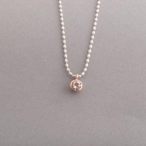 Kette aus Silber mit Morganit , Fassung aus 750/000 Gold , Botho Nickel Schmuck Hamburg, Juwelier, Goldschmiede, Diamantgutachger und Gemmologe