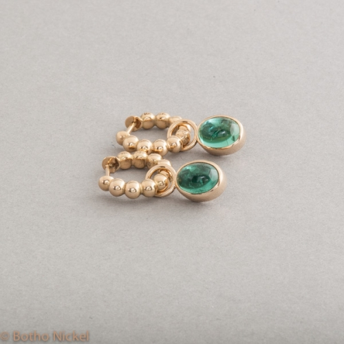 Kreolen aus 18 Karat Gold mit Turmalinen , Botho Nickel Schmuck Hamburg, Juwelier, Goldschmiede, Gemmologe und Diamantgutachter