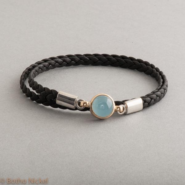 Armband aus Leder mit Verschluss aus Silber Aquamarin Cabochon, Juwelier, Goldschmiede, Gemmologe und Diamantgutachter