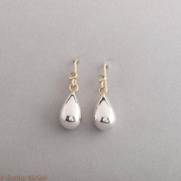 Ohrringe aus Silber mit Prasiolith, Botho Nickel Schmuck Hamburg, Juwelier, Goldschmiede Gemmologe und Diamantgutachter