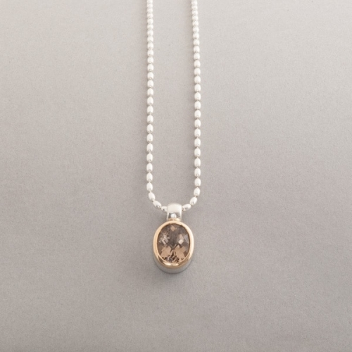 Kette aus Silber mit Rauchquarz oval, Botho Nickel Schmuck , Juwelier Goldschmiede Gemmologe und Diamantgutachter