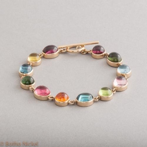 Armband 18 Karat Gold mit Edelsteinen, Botho Nickel Schmuck Hamburg, Juwelier, Goldschmiede, Gemmologe und Diamantgutachter