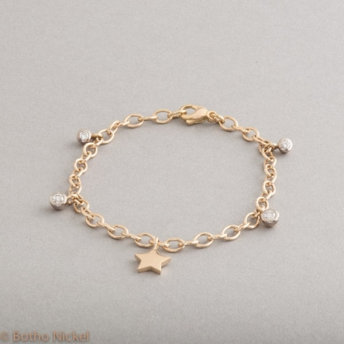 Armband 18 Karat Gold mit Stern und Brillanten, Botho Nickel Schmuck Hamburg, Juwelier, Goldschmiede, Gemmologe und Diamantgutachter