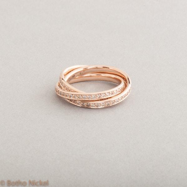 Ring aus 18 Karat Roségold mit Brillanten (Zimt) 0.90ct , Botho Nickel Schmuck Hamburg, Juwelier und Goldschmiede