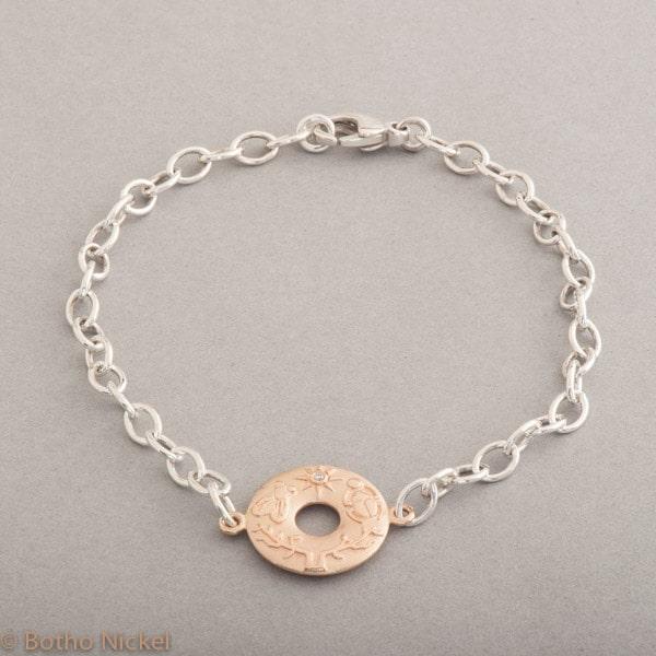 Armband aus Silber mit Confidence aus 18 Karat Roségold, Botho Nickel Schmuck Hamburg, Juwelier und Goldschmiede
