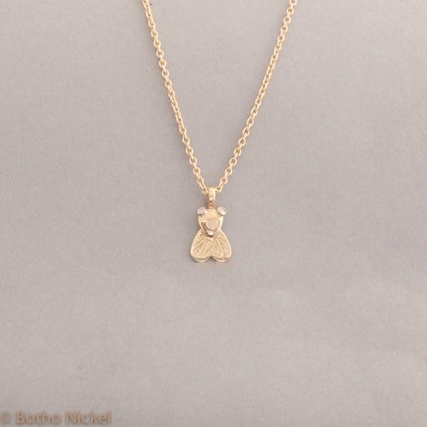 Kette aus Gold mit Fliege, Botho Nickel Schmuck Hamburg, Juwelier und Goldschmiede