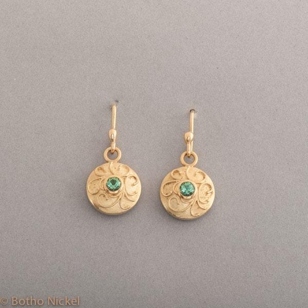 Ohrringe aus 18 Karat Gold mit Turmalinen , Botho Nickel Schmuck Hamburg, Juwelier und Goldschmiede