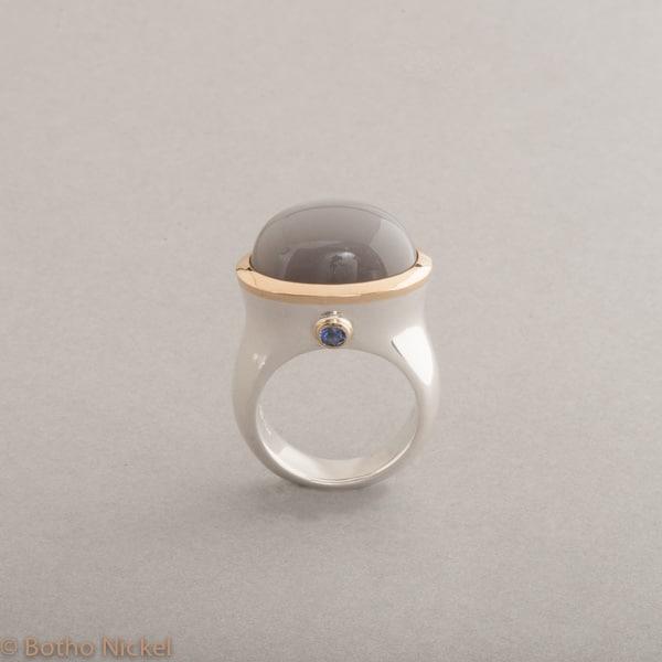 Ring aus Silber mit Mondstein und Tansanit, Botho Nickel Schmuck Hamburg, Juwelier und Goldschmiede