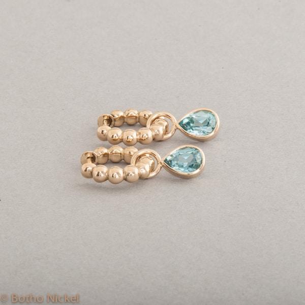 Kreolen aus 18 Karat Gold mit Zirkonen, Botho Nickel Schmuck Hamburg, Juwelier und Goldschmiede