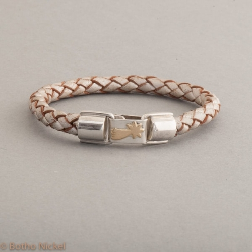 Armband aus Leder mit Stern aus 18 Karat Gold, Botho Nickel Schmuck Juwelier und Goldschmiede