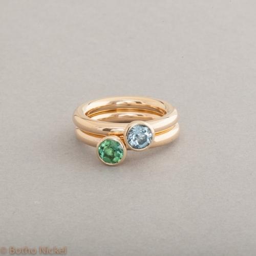 Ringe aus 18 Karat Gold mit Aquamarin und Turmalin, Botho Nickel Schmuck Hamburg, Juwelier und Goldschmiede