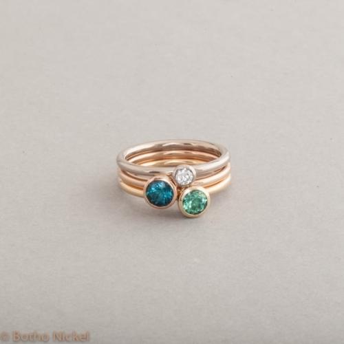 Ringe aus 18 Karat Gold mit Brillant und Turmalinen, Botho Nickel Schmuck Hamburg, Juwelier und Goldschmiede