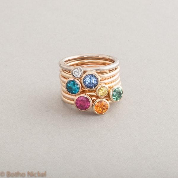 Ringe aus 18 Karat Gold mit Edelsteinen, Botho Nickel Schmuck Hamburg, Juwelier und Goldschmiede